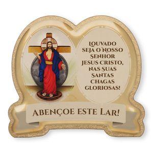 Imã de Geladeira Jesus das Santas Chagas Duplo Imagem e Oração